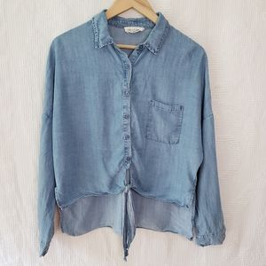 Chambray knot tie hi low top